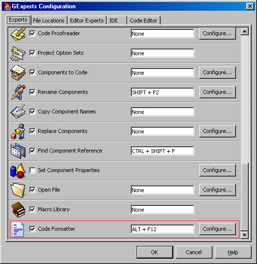 Screenshot of the regular expert's configuration dialog